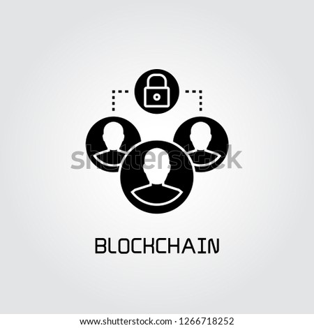 people group and key for blockchain concept icon