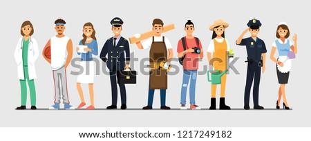 People Group Different Job Set,  Flat Vector Illustration Background