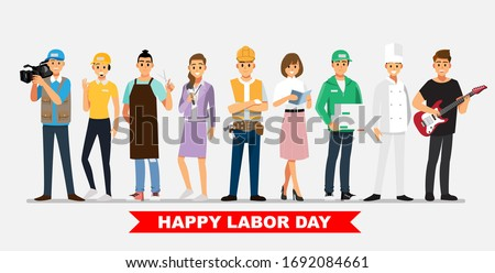 People Group Different Job Set 06,  Flat Vector Illustration Background Photo stock ©