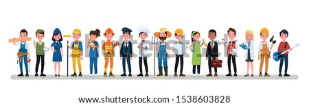 People Group Different Occupation Profession Set, International Labor Day Flat Vector Illustration Photo stock ©