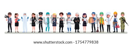 People Group Different Occupation Profession Set, International Labor Day Flat Vector Illustration Сток-фото ©
