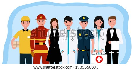 People Group Different Occupation Profession Set, International Labor Day Flat Vector Illustration Foto d'archivio ©