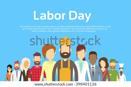 Shutterstock People Group Different Occupation Set, International Labor Day Flat Vector Illustration