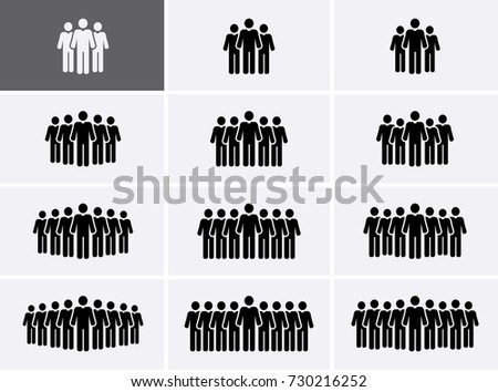 People Group Icons set. Crowd Icons. Vector