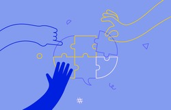 People group solving speech balloon puzzle together. Business team idea brainstorm concept or social communication design. Modern flat outline style corporate cartoon.
