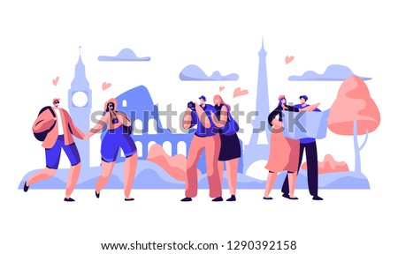 People Group Travel Take Photo Europe Sight. Happy Man Character in Vacation with Backpack, Camera and Map. Hipster Hiking Tourism on Urban Background Concept Flat Cartoon Vector Illustration