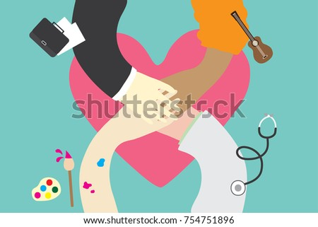 People hand together on big heart, variety of career teamwork concept in flat design vector illustration #754751896