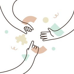 People hands reaching out for each other. Business teamwork idea concept or social help design. Modern flat outline style cartoon on isolated white background.