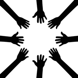 People hands united together. teamwork concept, solidarity, friendship, partnership, communication, united, meeting vector illustration