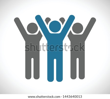 people hands up team icon