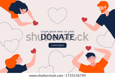 People Hands with hearts for charity donation. social care and charity concept. Volunteering illustration. perfect for banner, landing page template for web and app development