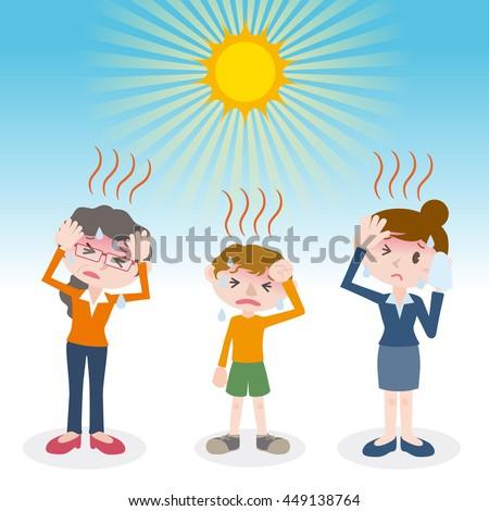people have a heatstroke, image illustration