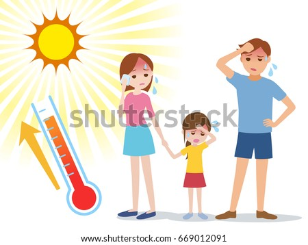people have heatstroke, concept illustration