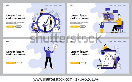 People having conference chat, checking eyesight set. Office workers time management, protest. Flat vector illustrations. Communication, work concept for banner, website design or landing web page