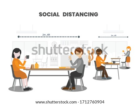 People having foods with suitable seating arrangements in Canteen, keep distance away and stay 6 feet (2 meters) from other to limit the spread of COVID-19 disease, practice social distancing.