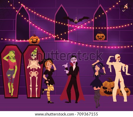 people having fun at halloween