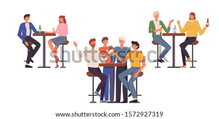 People having fun, sitting and drinking. Happy friends, business people at bar party vector concept. Colleague business party after work, date with girl, students having fun in a bar, pub, cafe