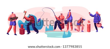 People Having Outdoors Active Rest Set. Male and Female Characters Hobby at Leisure Time, Men and Women Relaxing, Fishing, Taking Pictures, Pick Up Mushrooms, Camping. Cartoon Flat Vector Illustration