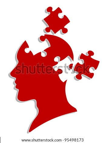People head with puzzles elements for psychology or medical concept design