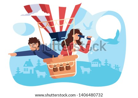 People hiring air, balloon vector illustration. Happy smiling woman and man riding on aerostat and viewing something or somebody birds-eye flat style concept. Searching for employee for business team