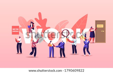 People Hiring Work Concept. Characters Searching Job in Newspaper Ads and Online. Interview in Office with Applicants, Hr Agent with Loudspeaker Hire Poster Banner Flyer. Cartoon Vector Illustration