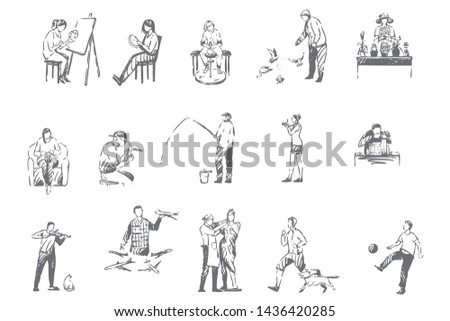 People hobbies, activities concept sketch. Indoor and outdoor leisure, woman painting, man fishing, clay crafting, gardening, pigeon breeding, outside interests set. Isolated vector illustration