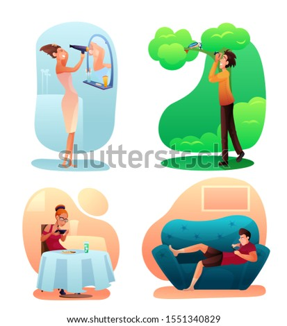 People hobbies color illustrations set. Different interests, activities concept. Home and outdoor rest. Men and women leisure and pastime flat characters pack. Free time spending idea