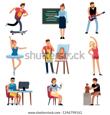People hobbies. Persons and creative handicraft hobby. Cartoon musician dancer painter teacher sculptor artistic characters at work vector set