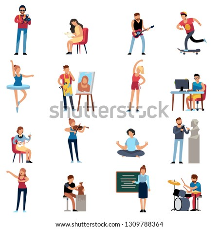 People hobbies. Photographer happy teenage artist writer illustrator designer cartoon vector illustration set