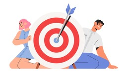 People hold big target with arrow in bullseye, teamwork success, people run to their goal, target achievement, successful team work for web page, banner, presentation. Business vector illustration.