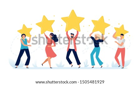 People hold rating stars. Customer feedback, clients choices ratings and customers satisfaction review. Rate feedback, talent show award or positive vote vector illustration