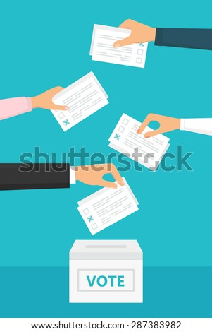 People holding ballot papers in their hands and putting them into box. Election and Voting Illustration