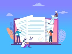 People holding document and standing next to big laptop and paper contract, online document, vector illustration concept,  can use for, landing page, template, ui, web, homepage, poster, banner, flyer