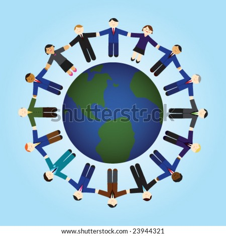 stock vector : People holding hands around the world.