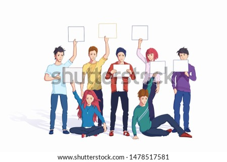 People holding placards flat vector illustrations set. Cartoon characters with empty banners mockups. Caucasian men and women have blank posters in hands. Demonstration, protest action cliparts
