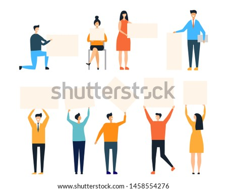 People holding placards vector illustration. Man and woman with clean banners isolated on white background. People hold placard and poster, protest and demonstration