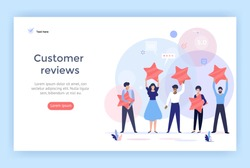 People holding stars. Customer reviews concept illustration concept illustration, perfect for web design, banner, mobile app, landing page, vector flat design