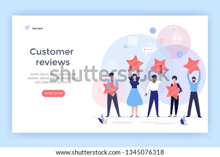 People holding stars. Customer reviews concept illustration concept illustration, perfect for web design, banner, mobile app, landing page, vector flat design