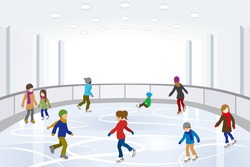 People Ice Skating on indoor Ice Rink