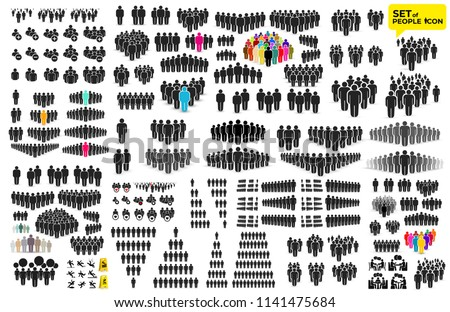 People Icon big set in trendy flat style. Persons symbol for your infographics website design, logo, app, UI. Crowd signs. Vector illustration. Isolated on white background