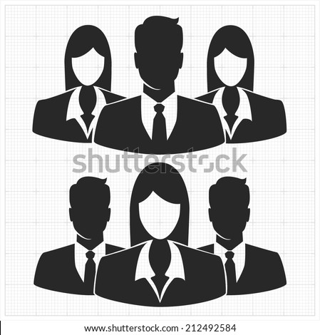 People icon, Group of business people with leader on foreground