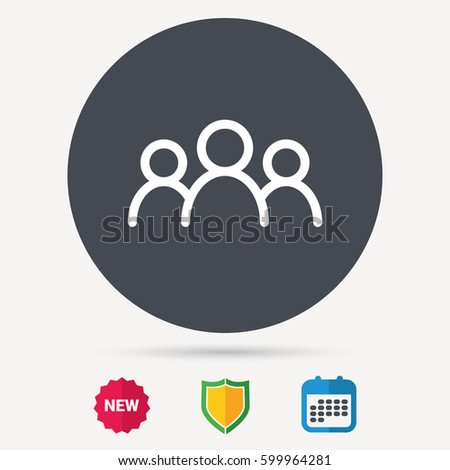 People icon. Group of humans sign. Team work symbol. Calendar, shield protection and new tag signs. Colored flat web icons. Vector