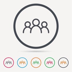 People icon. Group of humans sign. Team work symbol. Round circle buttons. Colored flat web icons. Vector