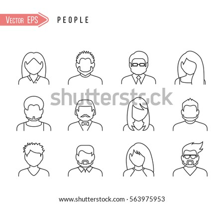 people icon. Outline vector