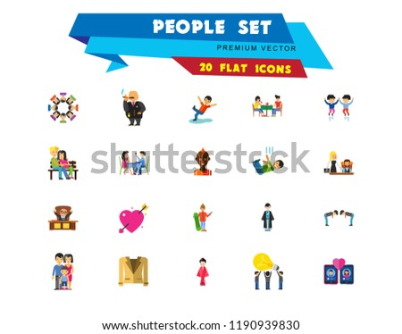 People Icon Set. Family Showing Respect Amour Symbol Couple On Park Bench Dating Team Dinner Friends Greeting Boss Director Common Idea Rich Person