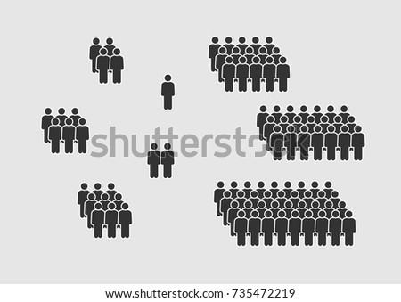 People Icon set in flat style isolated on white background. Crowd signs. Persons symbol for your infographics web site design, logo, app, UI. Vector illustration, EPS10.
