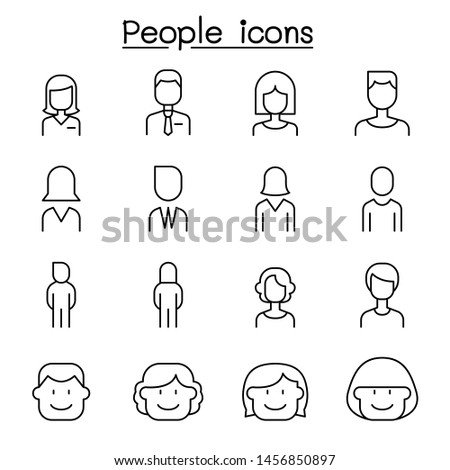 people icon set in thin line