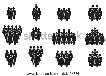 People icon set in trendy flat style. Crowd signs, Persons symbol, group symbol, for info graphics and website design logo. Isolated on white background, Vector icon illustration