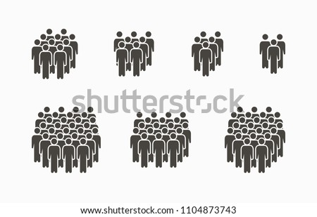 People Icon set in trendy flat style isolated on light background. Crowd signs. Person symbol for your infographics web site design, logo, app, UI. Vector illustration, EPS10.