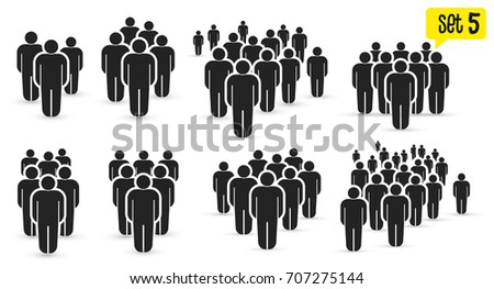 People Icon set in trendy flat style. Persons symbol for your infographics website design, logo, app, UI. Crowd signs. Vector illustration. Isolated on white background